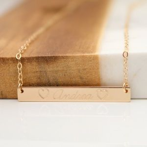 Jewelry - 14k Gold Filled Engraved Script Bar Necklace